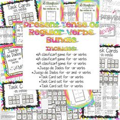 Bundle of 8 activities to practice and reinforce the present tense of -ar, -er, and -ir verbs.  Only $10!