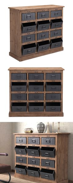 Choose a storage solution with industrial strength. Our Carter Cabinet is made with fir wood and features twelve steel-finished metal bins. Multiple drawers are designed with a fixed, open tilt for add...  Find the Carter Cabinet, as seen in the Vintage Americana Collection at http://dotandbo.com/collections/vintage-americana-1?utm_source=pinterest&utm_medium=organic&db_sku=124531