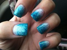 Silver and turquoise fade acrylic nails