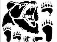 Grizzly Bear **Reusable Stencil** 7 sizes available- Create Lodge Western Cabin Signs and Cabin Pillows Grizzly Bear Stencil