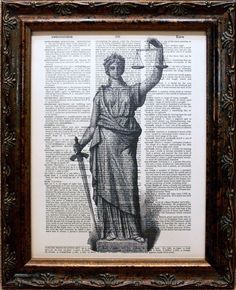 Lady Justice Statue Art Print on Dictionary Book by apageintime, $6.50
