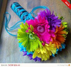 Sale - Daisy Wedding Bouquet, Yellow Daisy Bouquet Purple Daisy Bouquet Orange Daisy Bridal Hot Pink Daisy Green Daisy Malibu Blue Daisy Tu