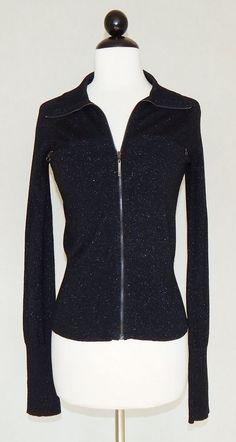 ARMANI EXCHANGE A/X Black Shimmer Metallic Zip Front Cardigan Sweater - Size M #AXArmaniExchange #FullZip