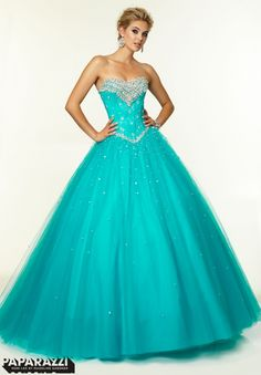 97002 Prom Dresses / Gowns Crystal Beading on Tulle Ballgown Aqua