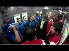 opposing fans get into an elevator,hidden camera prank