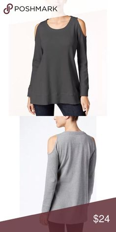 Cold shoulder thermal top in gray size large Cold shoulder thermal top by style & co  In steel gray  Size large  Long sleeves with scoopneck  Pull on design  Cotton polyester spandex  Hits below hips  Brand new with tags  Second pic is just to show what the back looks like. The actual color of this top is the first pic (darker gray) Style & Co Tops Blouses