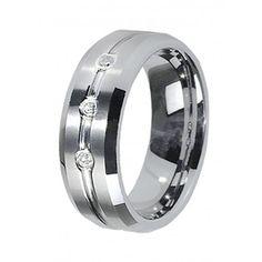 8mm Men's Cubic Zirconia Tungsten Carbide Wedding Ring Band