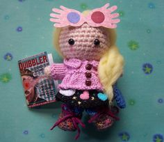 ****MADE TO ORDER*************** My Amigurumi just keep getting more and more detailed, and therefore even more fun for me to make! This is a cute little Luna Lovegood, complete with mini The Quibbler magazine and Spectrespecs. The Spectrespecs can be re-positioned on Lunas head as you wish. Luna is known for her crazy fashion sense and this outfit is particularly cool IMHO and this Amigurumi would make the ideal gift for any Harry Potter fan, or to add to your Amigurumi collection…