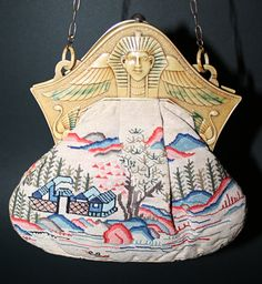 Chinese-themed petit point embroidered bag with Egyptian Revival celluloid frame (bag not original to frame), c. 1920s.