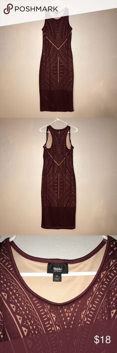 Sheet Tribal print dress NWT, Beautiful Maroon top layer over tan underlay (to make it look sheer) midi length dress!! I am 5'7 and it hits me below the knees. Size small, but could actually fit as a medium! Such a cute dress, I love mine that I recently purchased in Black! Mossimo Supply Co. Dresses Midi