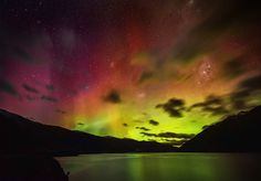 It turns out that one of the best places to see the Aurora is right here in Queenstown! I had a decent view from the place I am staying here at The Commonage, but the clouds were pretty heavy. So, we drove down along Lake Wakatipu until we were just past Wye creek. I got out of the car, let my eyes adjust, then saw colored shafts of light shooting up through the edge of our snow-globe. It wasn't like I expected! It's…. hard to explain. - QUEENSTOWN, NEW ZEALAND
