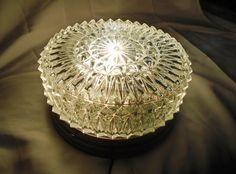 VTG MID CENTURY CUT GLASS DIAMOND POINT FLUSH MOUNT CEILING LIGHT FIXTURE