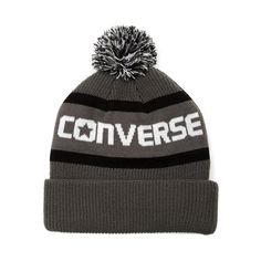 This season, break the ice with the sweet new Script Pom Beanie from Converse! Ready to keep your cranium warm and toasty, the Script Beanie sports a knit exterior with Converse brand graphics and stripes, topped off with a trendy pom. Available only at Journeys!