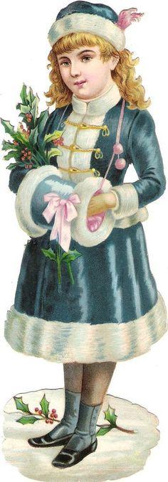 Glanzbilder - Victorian Die Cut - Victorian Scrap - Tube Victorienne - Glansbilleder - Plaatjes : Winter und Kinder