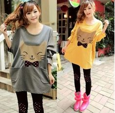 """Color:Yellow. Gray.  Size:free size.  Length:72 cm/28.08"""". Bust:122 cm/47.58"""". Sleeve length:61 cm/23.79"""". Waist:118 cm/46.02"""".  Fabric material:cotton.  Tips: *Please double check above size and consider your measurements before ordering, thank you ^_^  more fashion kawaii products,p..."""