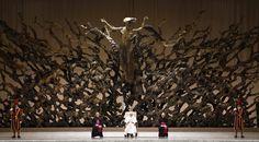The Resurrection, by Fazzini. It sits behind the Pope's throne, depicting the Christ resurrecting after a nuclear meltdown. : pics