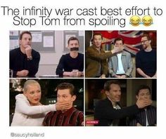 Tom Holland Spiderman Marvel Avengers ~ Ben is like his babysitter xD they usually get interviewed together. Funny Marvel Memes, Marvel Jokes, Dc Memes, Avengers Memes, Marvel Dc Comics, Marvel Avengers, Funny Memes, Funniest Memes, Hilarious