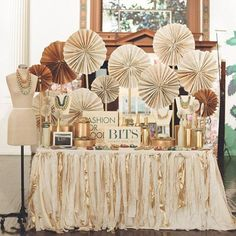 """HOW TO CREATE A PARTY BACKDROPWITH PINWHEELS & PAPER FANS Today I am going to show you three easy ways to create a party table backdrop using paper or tissue hanging fans or what many like to call """"pinwheels"""". . . which I will correctly define right now- These spinning fun designs above are actually  [Read On]"""