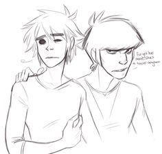 the look on 2D's face makes me sad tho I don't want to see him sad like that