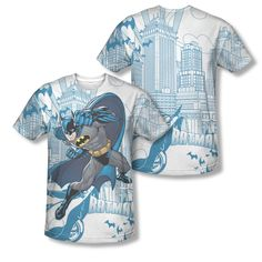 Batman The Dark Knight Gotham Skyline Sublimation ALL OVER Vintage T-shirt top Available In Sizes:Small, Medium, Large, XL, 2XL #Batman #BruceWayne #TheDarkKnight #DCComics  #TheCapedCrusader #JusticeLeague #GothamCity #BatmanTshirt