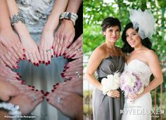 WedLuxe: stylish bride and bridesmaids