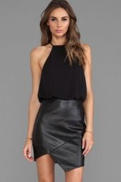 Siyah şifon Vinil Mini Elbise