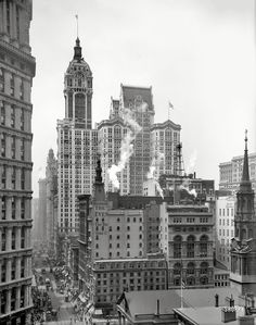 "Manhattan circa 1910. ""Singer Building down Broadway from the post office.""  Detroit Publishing Company."