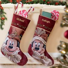 Minnie And Mickey Mouse Victorian Holiday Stocking   Personalizable   Or  These To Match My Tree