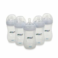 AVENT Natural 9-Ounce Bottle (5-Pack) - BedBathandBeyond.com Avent Baby Products, New Baby Products, Toddler Bottles, Phillips Avent, Avent Baby Bottles, Bottles For Sale, Baby Shower Gifts For Boys, Bottle Feeding, Philips