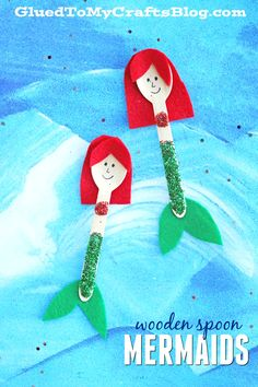 Today's glittery and mer-tastic kid craft idea is full of summer whimsy! With just some wooden craft spoons, tons of glitter and craft felt – you too can create some one-of-a-kind mermaids with your child today! Not only is this Wooden Spoon Mermaid craft idea simply adorable but it's also completely customizable and perfect for some beach-themed puppet play …