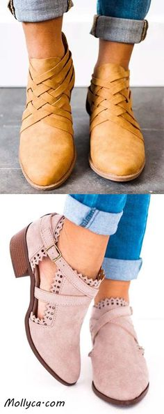 Buy 2 Got 5% OFF Code: mollyca Criss-Cross Ankle Heel Booties Hollow-out PU Chunky Heel Boots