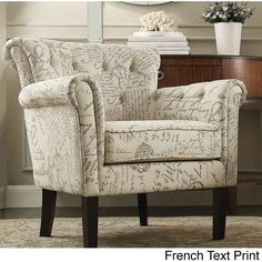 Asher Upholstered Button-tufted Rolled Arm Club Chair ($267) ❤ liked on Polyvore featuring home, furniture, chairs, accent chairs, beige, cream colored chairs, cream chair, tufted chair, beige accent chair and ivory chair