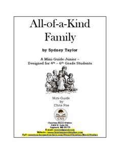 This guide was updated and expanded in October of 2016.This is a two-week study for the book titled All-of-a-Kind Family, by Sydney Taylor.  This book contains the adventures of a Jewish family in New York in the early 1900s.    A mini-guide contains vocabulary activities, discussion questions, reading activities, extension activities, and a complete answer key.
