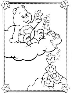 care bears coloring page Farm Animal Coloring Pages, Spring Coloring Pages, Cute Coloring Pages, Coloring Pages For Girls, Disney Coloring Pages, Printable Coloring Pages, Coloring Sheets, Coloring Books, Care Bear Tattoos