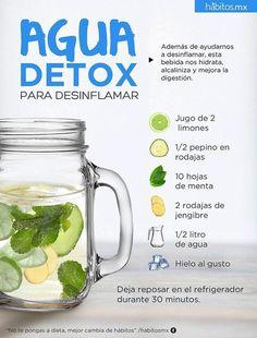 Receta para preparar agua detox. #infografias #detox #salud #detox #jugodetox #sucodetox