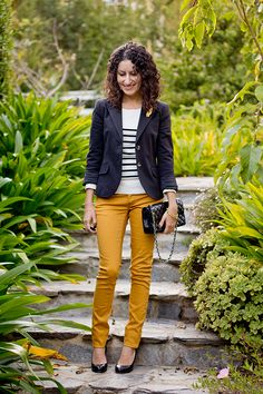 Needs some Mustard Pants to wear with my Navy Blazer (Cute work outfit)