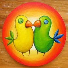 Endless Love Round Canvas Oil Painting Kiss Birds by MikiMayoShop
