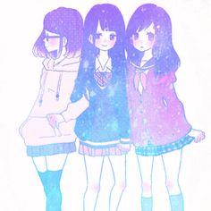 Sisters art and illustrations anime, anime art, kawaii anime Manga Anime, Me Anime, Manga Girl, Anime Best Friends, Friend Anime, Anime Friendship, Anime Galaxy, Sisters Art, Image Manga