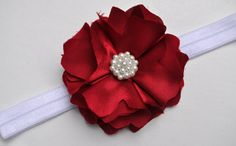 SALE-- CRANBERRY & PEARL-- Very Limited Edition-- FLashY Holiday Headband-- Size Customizable on Etsy, $10.99