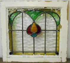 """OLD ENGLISH LEADED STAINED GLASS WINDOW Colorful Floral Arch Design 18.5"""" x 17"""""""