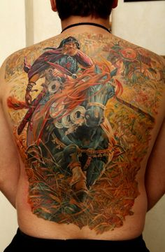 A highly detailed, quality tattoo by Dmitriy Samohin of a fantasy warrior and his powerful war horse