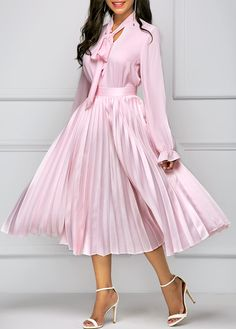 Long Sleeve Tie Neck Top and Pleated Skirt on sale only US$42.00 now, buy cheap Long Sleeve Tie Neck Top and Pleated Skirt at liligal.com