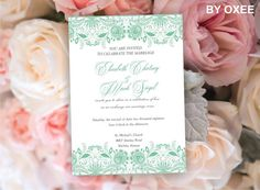 Printable Wedding invitation template Vintage mint green by Oxee, $7.00