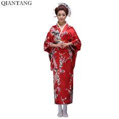 Red Classic Japanese Women Vintage Yukata Kimono With Obi Stage Performance Dance Costumes One Size Island Outfit, Yukata Kimono, Cosplay Outfits, Women Brands, Dance Dresses, Dance Costumes, Traditional Outfits, Vintage Ladies, Gowns