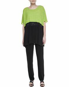 Colorblock Short-Sleeve Caftan & Stretch-Knit Slim Pants, Women\'s by Caroline Rose at Neiman Marcus.