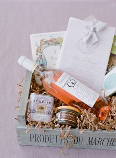 French-inspired wedding welcome basket – Destination Wedding Welcome Bags Wedding Welcome Baskets, Wedding Welcome Gifts, Destination Wedding Welcome Bag, Wedding Blog, Wedding Favors, Party Favors, Wedding Decorations, Provence Wedding, Edible Favors