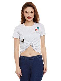 22797f7d8e Womens Light Grey Crop Top 100% Cotton Half Sleeve