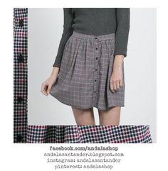Falda corta de estampado de pata de gallo cuadro pequeño. Poliéster 29.90 €