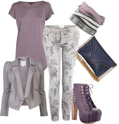 """Fifty Shades of Lilac and Gray"" by rikasfashionbox on Polyvore"
