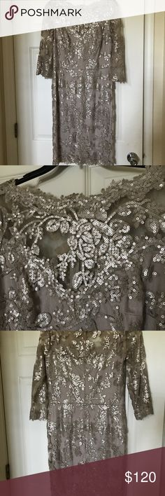 Tadashi Shoji Formal Dress Beautiful Tadashi Shoji dress Covered in stunning matte sequins Photographs beautifully  Worn only once to a wedding  All sequins intact and no damage or stains Exquisite DESIGNER dress Tadashi Shoji Dresses